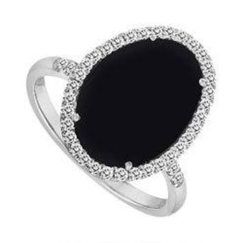Sterling Silver Black Onyx and Cubic Zirconia Diamond Ring 16.00 CT TGW