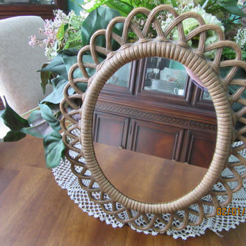 "Mirror Wicker Syroco Oval, Home Decor Vintage Finds, Wall Hanging 1960s, 15""  high x 12 1/2"" wide"