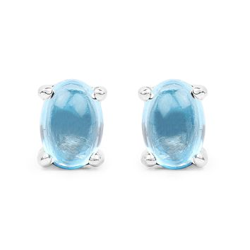 Natural Swiss Blue Cabochon Stud Earrings