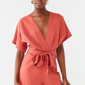 UO Ruby Linen Surplice Jumpsuit | Urban Outfitters