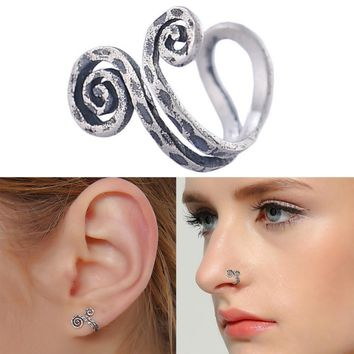 1 Pc Trendy Men Women Ear Cuff 2017 New Fashion Clip-on Earrings Vintage Silver Plated Nose Rings No Piercing Good Quality