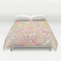 Rosy Opalescent Art Deco Pattern Duvet Cover by Micklyn