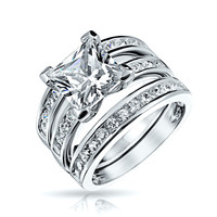 Bling Jewelry Dazzling CZ Ring Set