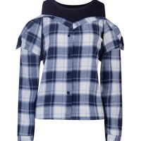 Blue Plaid Contrast Paneled Cold Shoulder Shirt