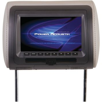 "Power Acoustik 7"" Lcd Universal Headrest Monitor With Dvd Ir & Fm Transmitters & 3 Interchangeable Skins"