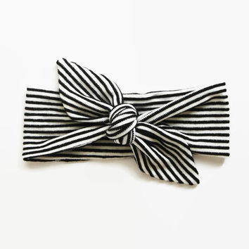 Top Knot Headband, Infant Headband, Baby Shower Gift, Toddler Headband, Baby Head Wrap, Monochrome Baby, Striped Headband, Knotted Headband