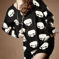 Oversize Skull Print T-shirt for Women REY52 from topsales