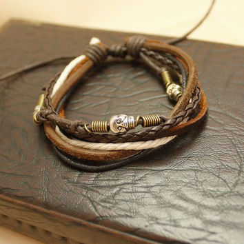 Cool New Vintage Men Women Hemp Surfer Handmade Braid Leather Wrap Bracelet Wristband Skull Men Bracelets