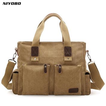 NIYOBO Hot Men's Casual Canvas Travel Bags Duffel Shoulder Bags Thick Large Male Luggage Bags PT699