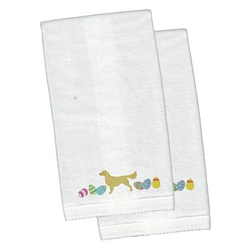 Golden Retriever Easter White Embroidered Plush Hand Towel Set of 2 CK1647KTEMB