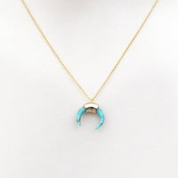 Turquoise, Horn, Gold, Necklace, Lovers, Best friends, Mom, Sister, Gift, Accessory, Jewelry