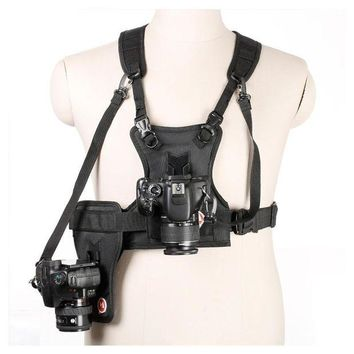 ac NOOW2 Carrier II Multi Dual 2 Camera Carrying Chest Harness System Vest Quick Strap with Side Holster for Canon Nikon Sony Pentax DSLR