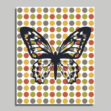 Minimalist Polka Dot Wall Art - Minimalistic Butterfly Home Decor - Spots, Dots, Minimal - DIY Printable Digital File Download