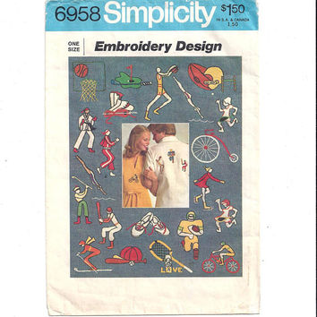Simplicity 6958 Wax Transfer Pattern for Hand Embroidery, Sports Motiff, Football, Baseball, From 1975, Vintage Pattern, Home Embroidery
