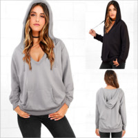 Deep v neck Causal Hooded  sweater coat B0014698