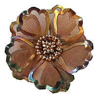 Flower Brooch BED Vintage Modernist Pin Gold Tone Mesh Signed P117