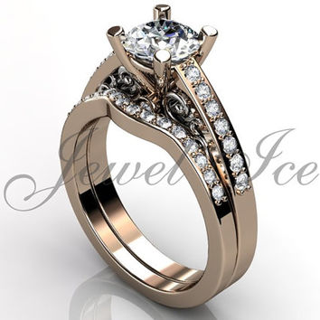 Engagement Ring Set - 14k Rose an White Gold Diamond Unique Art Deco Filigree Scroll Wedding Band Engagement Ring Set Bridal Set ER-1122-6