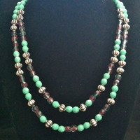 "Double strand glass bead and metal bead necklace ""Athena"""