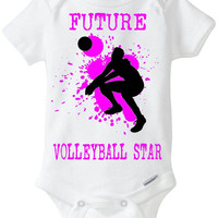 "New Baby Gift: ""Future Volleyball Star"" Infant Shirt! Sports / Sporty Baby Girl! Embellished Gerber Onesuit brand body suit - Hot Pink"
