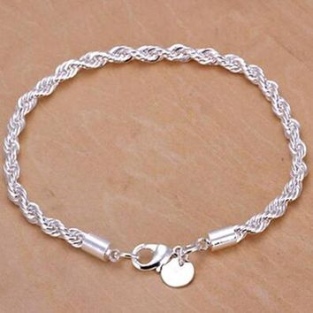Tomtosh 2016 New Hot Silver Plated Women Twisted Rope Solid Bangle Bracelet Chain Wristband