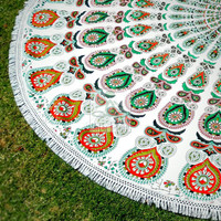 Boho Round Beach Throw - Round Mandala - Outdoor Decor  - Beach Life - Boho Beach - Hippie - Picnic Throw - Rug - Tablecloth - 3065