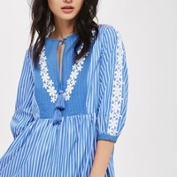Stripe Broderie Smock Dress