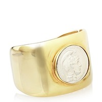 Kenneth Jay Lane Golden Hinged Coin Cuff at MYHABIT