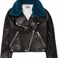 Acne | Rita detachable contrast-collared leather jacket | NET-A-PORTER.COM