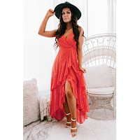 Dance With Me High-Low Maxi Dress (Red/Off White)