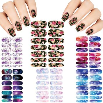 Hot 6pcs Nail Sticker Set Water Transfer Foil Nails Art Fashion Cartoon Tongue Manicure Decor Wraps Foil Stickers Decals