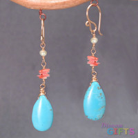 "Ivory freshwater pearls w/ pink coral, turquoise, 1-1/2"" Earring Gold Or Silver"