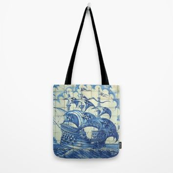Caravela Portuguese tile Tote Bag by Tony Silveira