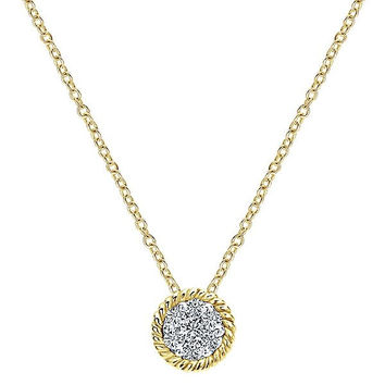 14K Yellow Gold Diamond Cluster Necklace with Braided Halo