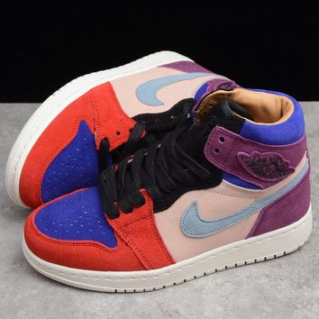 HCXX 19Aug 350 Air Jordan 1Court Lux High OG x Aleali May BV2613-600 Skateboard Shoes Breathable Casual Sneakers