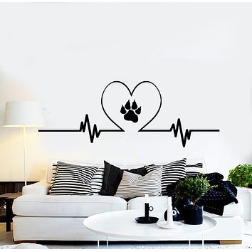 Vinyl Wall Decal Love Pets Grooming Tracks Animal Paw Print Stickers Mural (g3022)