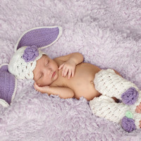Newborn Bunny Photo Prop - Furry Baby Bunny Prop - Newborn Baby Bunny Hat with Floppy Ears - Baby Easter Hat - Newborn Crochet PHOTO PROP