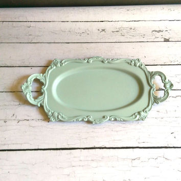 Vintage Light Green Tray/ Mint Green Tray/ Jade Green Tray/ Robin Egg Tray/ Vintage Painted Metal Tray