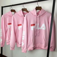 FILA Fashion Long Sleeve Hooded Print Embroider Casual Sweater G-A-GHSY-1