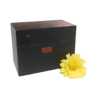 Wooden Weis Index Card Storage Box with Finger Joints, Vintage Painted Wood File Box