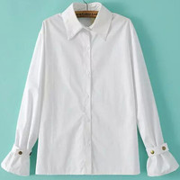 White Circular Flounce Sleeve Wrist Embellished Pointed Flat Collar Blouse