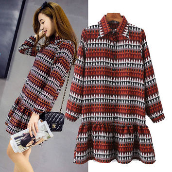 Women's Fashion Ruffle Print Chiffon Long Sleeve Dress One Piece Dress [4918985156]