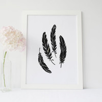 FEATHERS, Watercolor Feathers,Black And White Feather,Digital Art,Inspire,Printable Art,Feather Poster,Feather Digital Art,Modern Wall Art