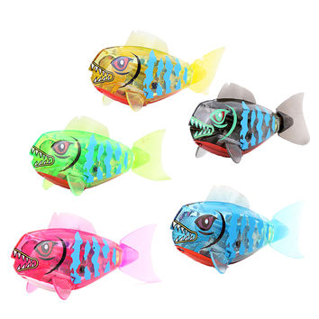 Cute Robofish Activated Battery Powered Robo Fish Toy Childen Kids Bath Toy Pet Electronic Robotic Fish Toy Random Color