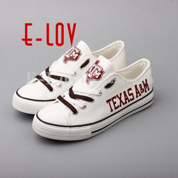 2018 Texas A&M Aggies Print Canvas Shoes College Group Customization Lace Casual Shoes  Festival gifts