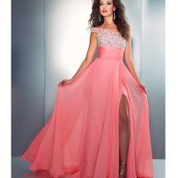 Mac Duggal Prom 2013- Coral One Shoulder Gown with Embellished Top - Unique Vintage - Cocktail, Pinup, Holiday & Prom Dresses.