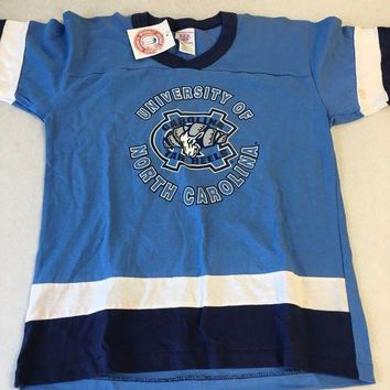 CUPUPI8 BRAND NEW YOUTH UNC NORTH CAROLINA TARHEELS RETRO NAVY STRIPE TEE SHIRT
