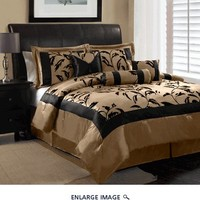 7 Piece Queen Amelia Black and Tan Flocked Comforter Set