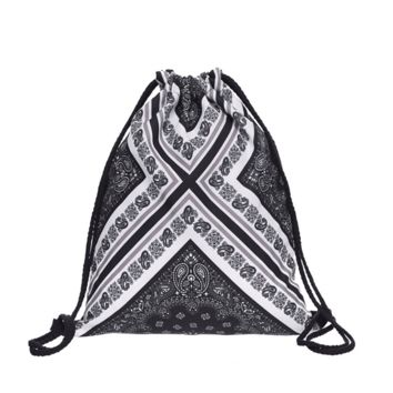 Drawstring Backpack in geometric boho pattern in black and white color for string Backpack