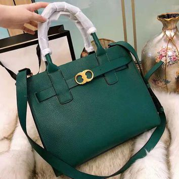 Tory Burch High Quality Fashionable Women Retro Leather Handbag Tote Shoulder Bag Crossbody Satchel Green