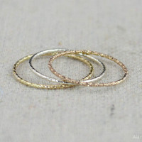 Thin Round Faceted 14kt Rose Gold Fill Rings, Dainty Rose Gold Ring, Minimal Rose Gold ring, Rose Gold Stacking Ring, Rose Gold Rings